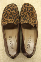 Anyi Lu Leopard Hair Gaby Wedge Heel Loafers Size 6 $375 New Comfortable Work