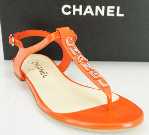 Chanel Red Leather Logo T Strap Sandals Size 37 C NIB CC Ankle Authentic $875 Sz