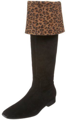 Aquatalia By Marvin K Black Suede Clever Leopard boots Size 6 Weatherproof New