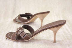 Prada Brown Cross Toe Buckled Strap Slides Sandals Size 39 New $495