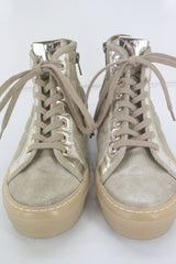 AGL Metallic Beige Quilted High Top Lace Up Fashion Sneakers SZ 36 NIB $425