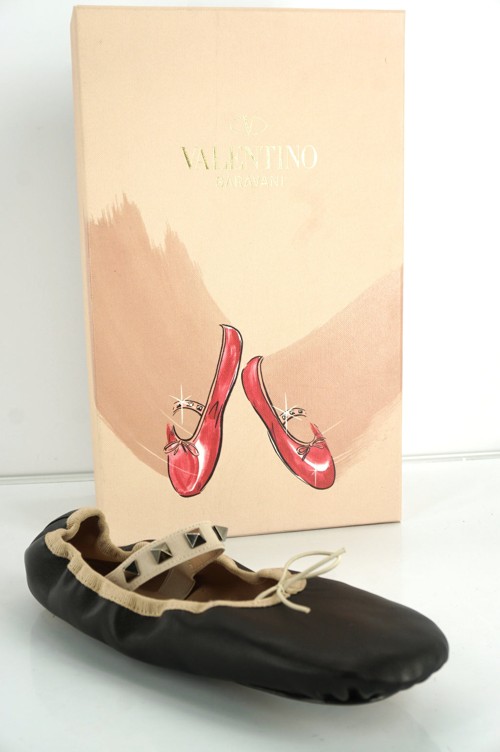 Valentino Rockstud Mary Jane Slipper Ballet Flats Size Medium Leather NIB