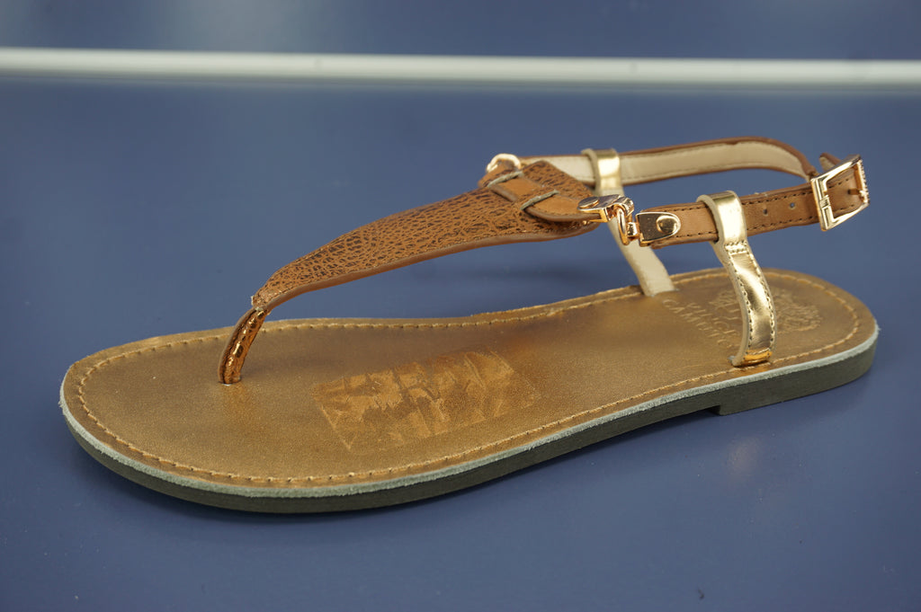 Vince Camuto Itelli Metallic Snake Strappy Flat Sandals Size 6.5