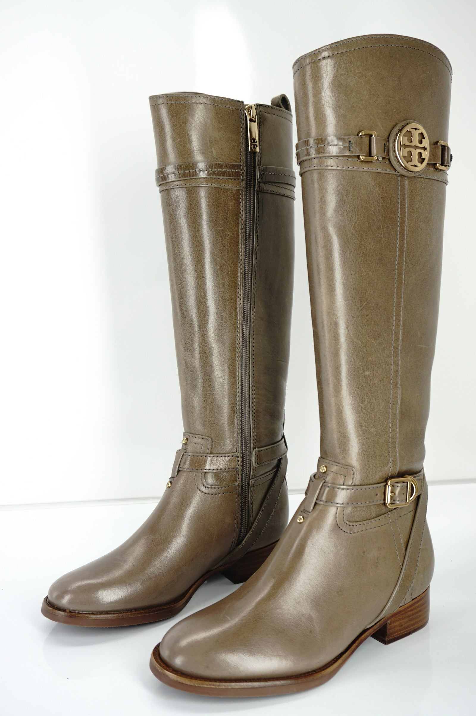 Tory Burch Calista Taupe Leather Logo Belt Knee Riding Boots SZ 5 New $495