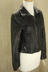 Steve Madden Black Leather Bomber Jacket size XS New $495 Biker