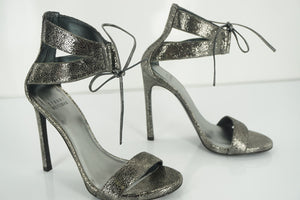 Stuart Weitzman Tynela Pewter Leather Ankle Strap High Heel Sandals Size 6 New
