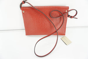 Burberry Large Langley Red Leather Clutch Crossbody Bag $795 SG Grain Shoulder