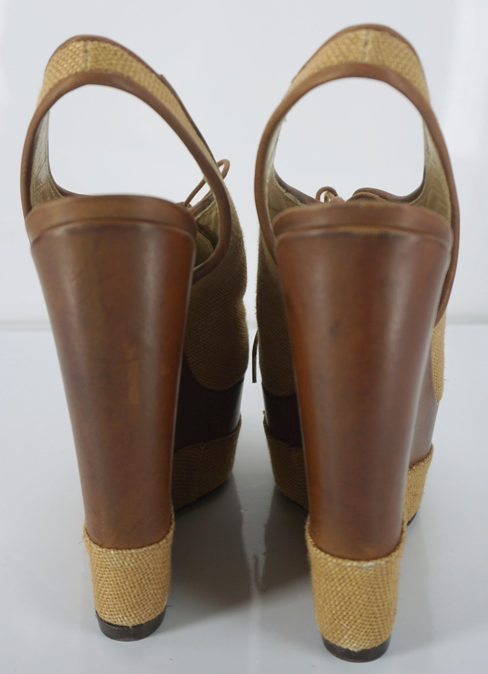 Stuart Weitzman Brown Leather Itsatie Platform Wedge Slingback Pumps SZ 8.5 NIB