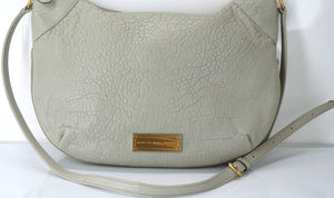 Marc by Marc Jacobs Washed Up Messenger Hobo Crossbody Bag $398 New Grey Leather