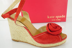 Kate Spade New York Red Suede Brit Flower Toe Wedge Heel Sandals Size 10.5 NIB