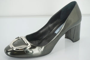 Prada Grey Patent D Ring Buckle High Heels Pumps Size 36.5 New $690 Women's