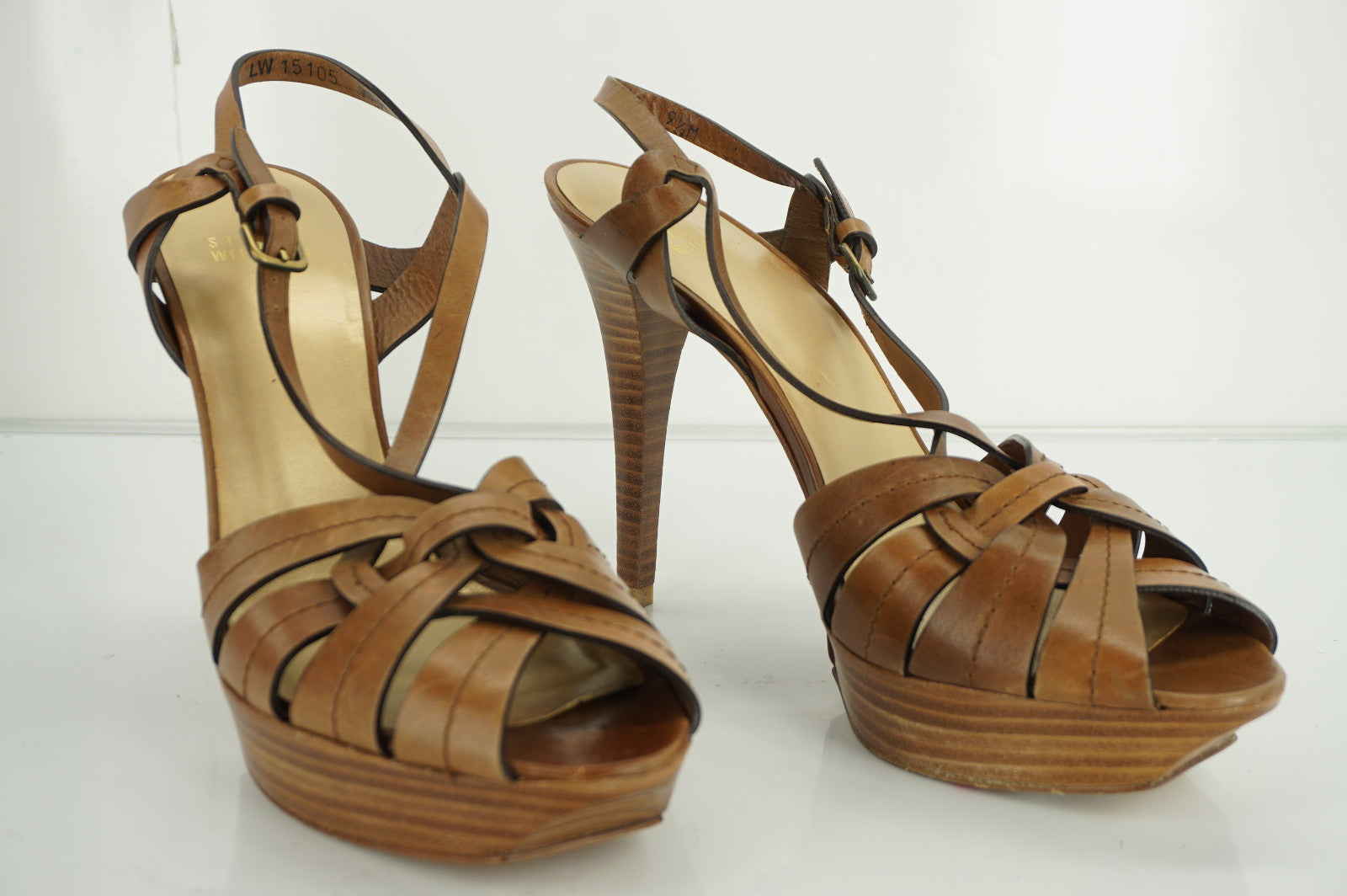 Stuart Weitzman However Brown Leather Platform Strappy Sandals SZ 9.5 NIB $395