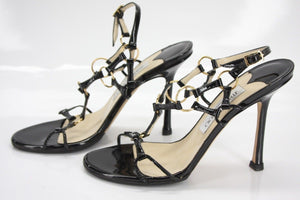 Jimmy Choo Black Patent Ring Strappy Sandal SZ 36.5 caged Ankle Heels $695