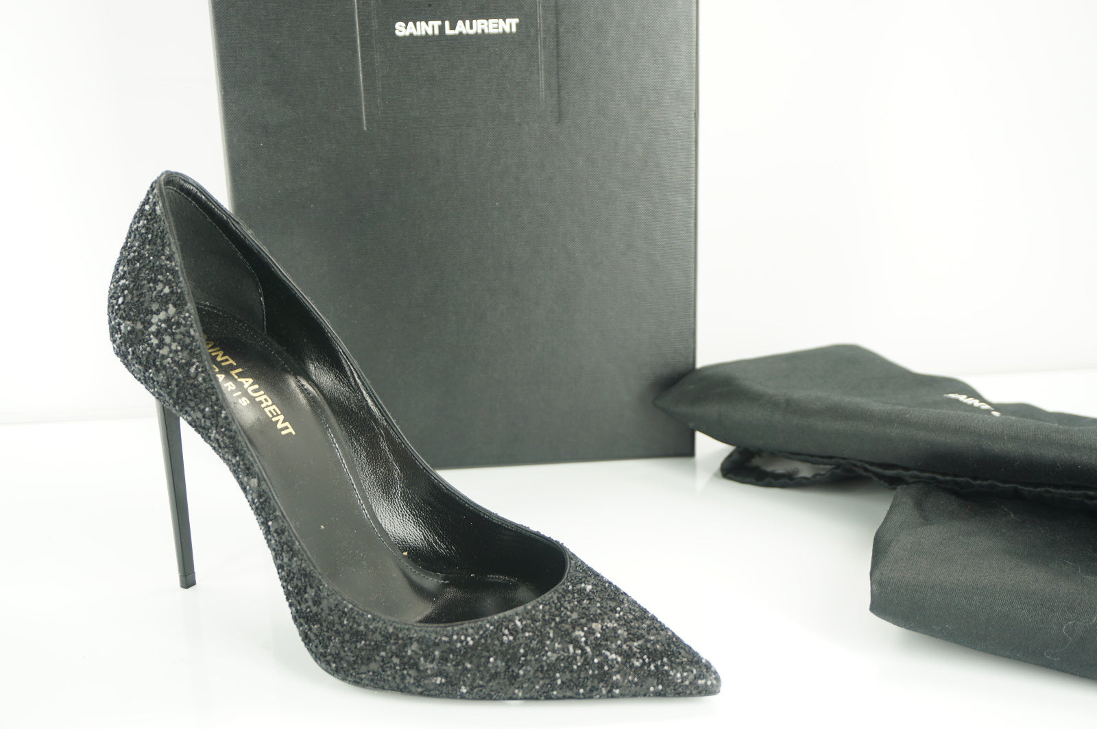 Saint Laurent Zoe 110MM Super Black Glitter Pointy Toe Pumps SZ 38.5 NIB $795