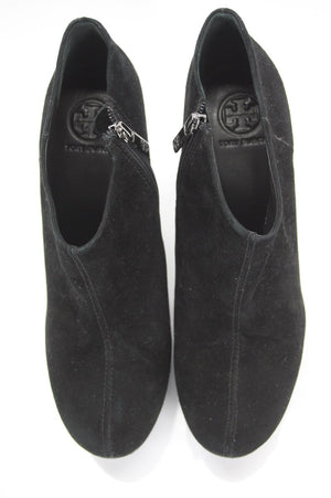 Tory Burch Cidnay Black Suede Platform Side Zip Ankle Boots SZ 10.5 New $495