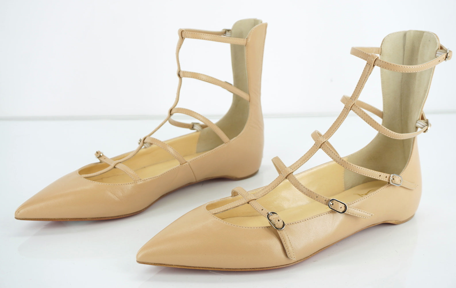Christian Louboutin Nude Calf Toerless Strappy Flat Sandals Size 38 NIB $845