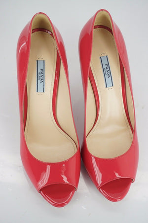 Prada Pink Patent Leather Open Toe Platform High Heel Pumps Size 39 NIB $650