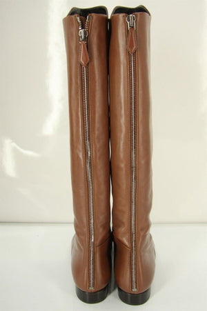 Miu Miu Luggage Brown Leather Knee High Riding Boots Size 38 NIB $1290 Pointy
