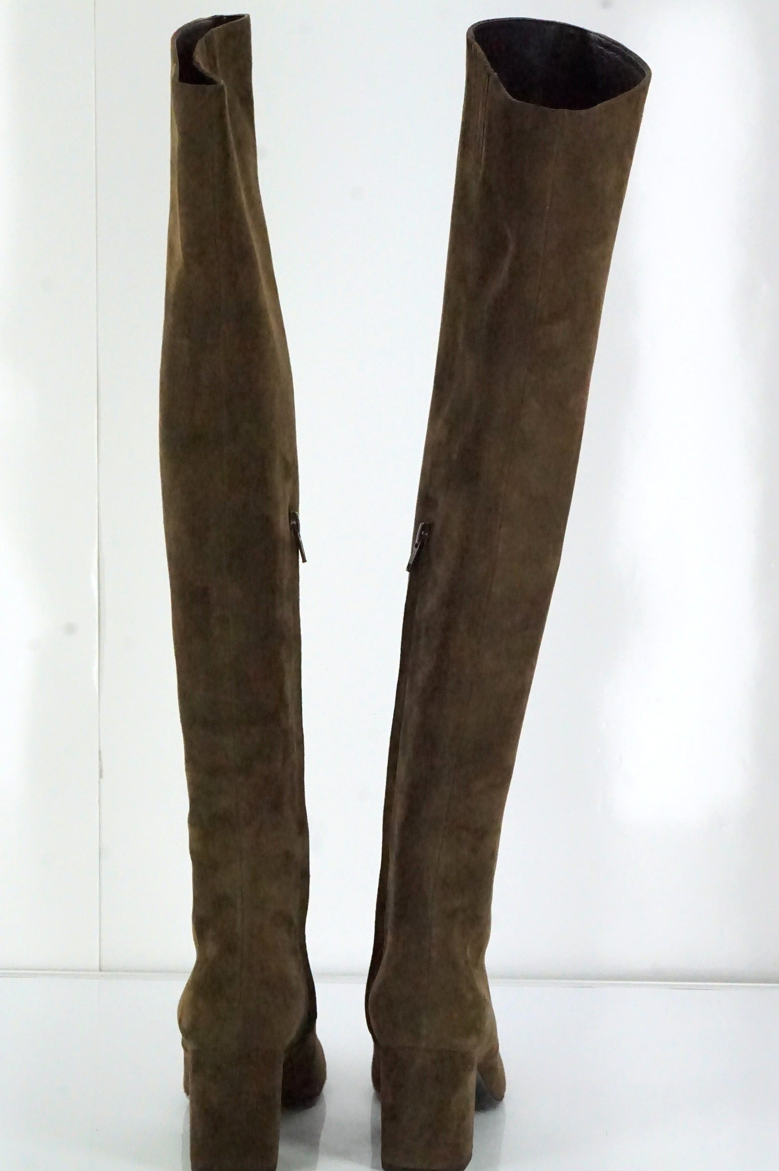 Saint Laurent Brown Suede 'Babies' Over the Knee Boots Size 37 NIB OTK $1495