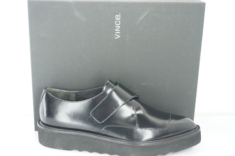 Vince Black Leather Arden Monk Strap Creeper Loafers Size 7.5 Womens NIB $395 Sz