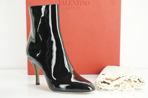 Valentino Black Patent Rockstud Bottom Sole Ankle Booties Size 37.5 NIB $1345