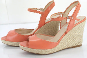 LK Bennett Seve Scalloped Leather Platform Espadrille Sandals SZ 39 New $345