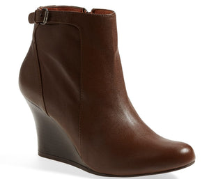 Lanvin Brown Leather Wedge Ankle Booties size 37 New $790