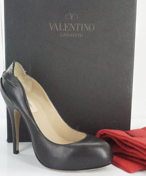 Valentino Black Leather Drape Studded High Heel Pumps Size 36 NIB $745 Women's
