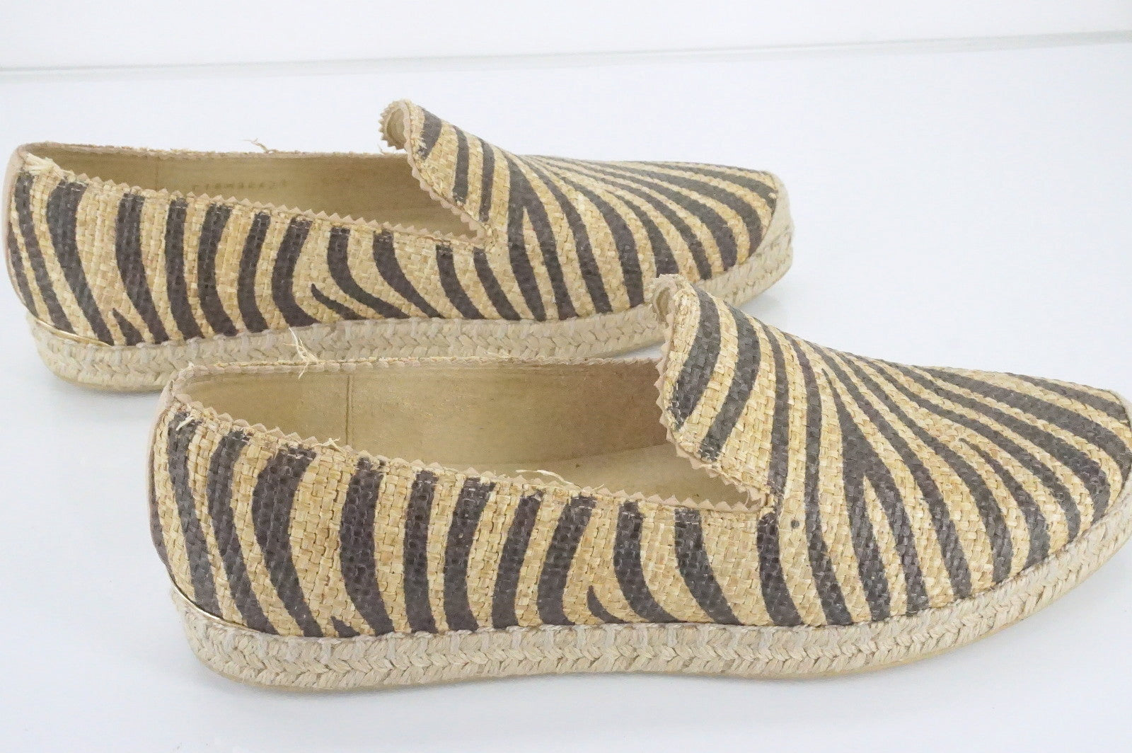 Stuart Weitzman Catalan Striped Espadrille Flat Loafers size 9.5 New $265 SZ Toe