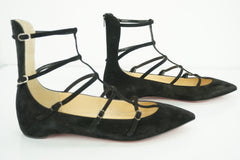 Christian Louboutin Black Suede Toerless Strappy Flat Sandals Size 37.5 NIB $845