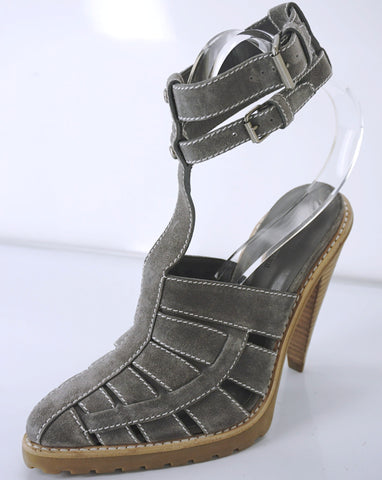Alexander Wang Grey Suede 'Abbey' Ankle T Strap Caged Sandals Size 38 New $495