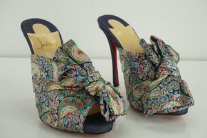 Christian Louboutin Moniquissima 120 Satin Paisley Mule Size 37.5 New $1145