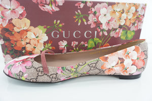 Gucci Bloom GG Supreme 411038 Mary Jane Slip On Ballet Flats Size 37.5 New