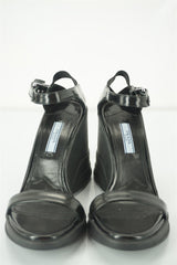 Prada Sport Ankle Strap Wedge Sandals Size 37.5 Sculpted Heel Strappy $850 New