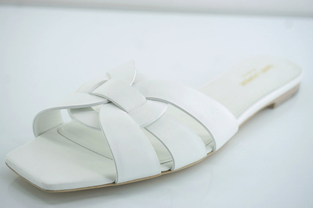 Saint Laurent White Tribute Nu Pieds Strappy Sandals SZ 41 11 Flat YSL $595