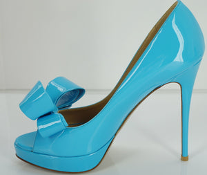 Valentino Blue Patent Bow Ope Toe Platform Pumps SZ 37 high heels $895 NIB