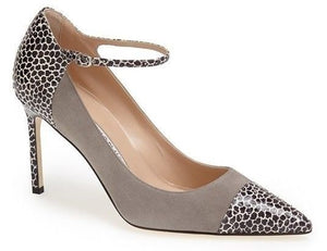 Manolo Blahnik Gray Suede Cacar Mary Jane Strap Pointy Pumps SZ 40.5 10.5 $865