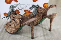 Donald Pliner Lisa Ilyna Cork caged bow Ribbon Sandals SZ 36 slingback