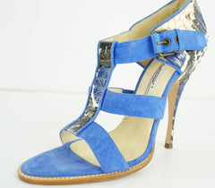 Brian Atwood Womens Audra Sandal Blue Snakeskin Size 7.5