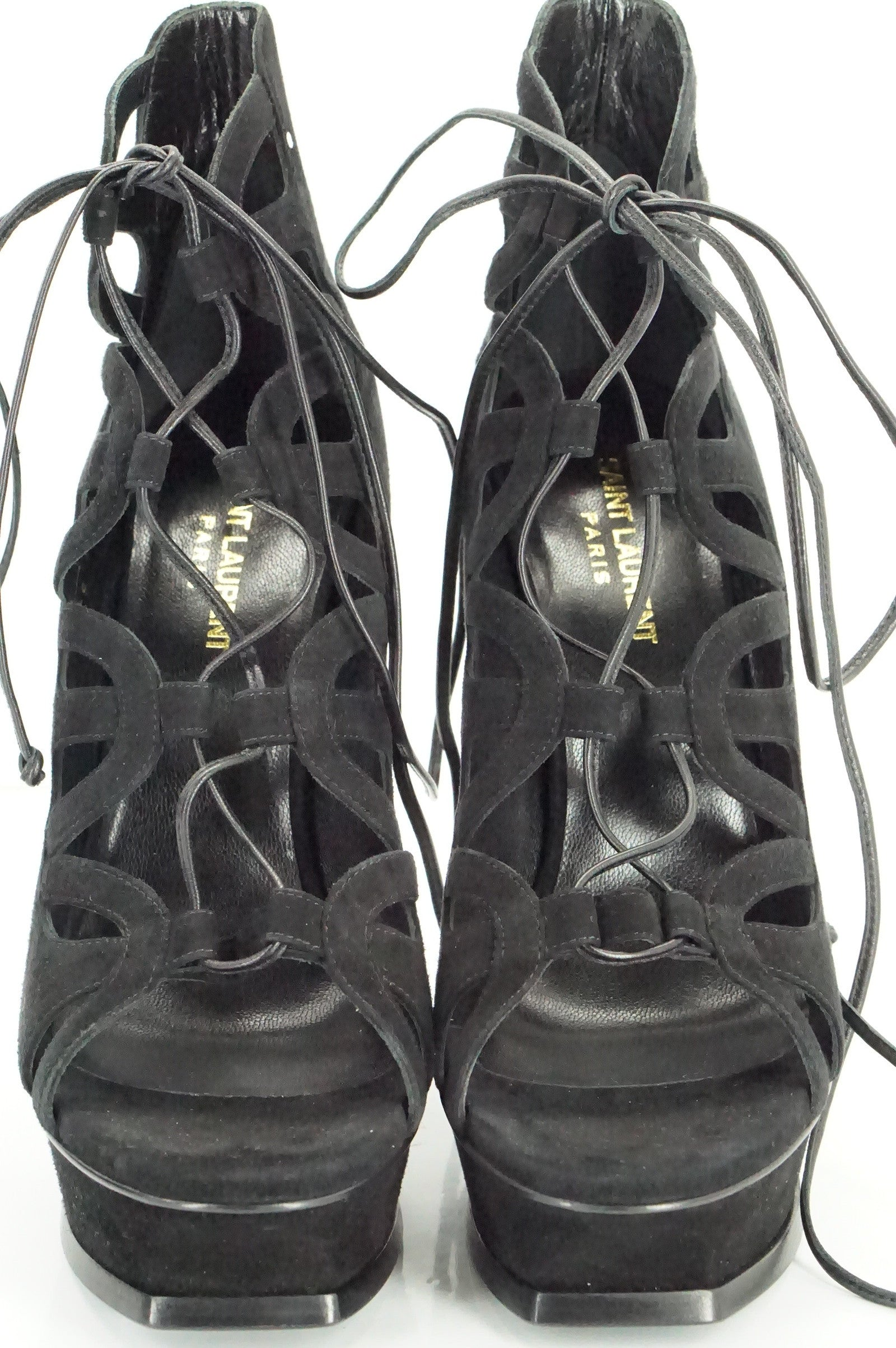 SAINT LAURENT Tribute Lace-Up Platform Sandal SZ 39.5 Black Suede YSL $995 NIB