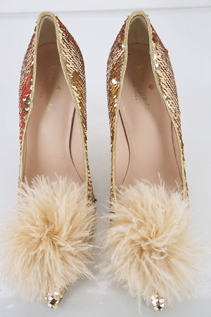 Kate Spade New York Gold Sequin Lexa Too Feather Pointy Toe Pumps Size 5.5 $350