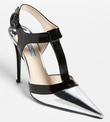 Prada Silver Leather Black T Strap Pointy Toe Leather Pumps Size 39.5 New $750