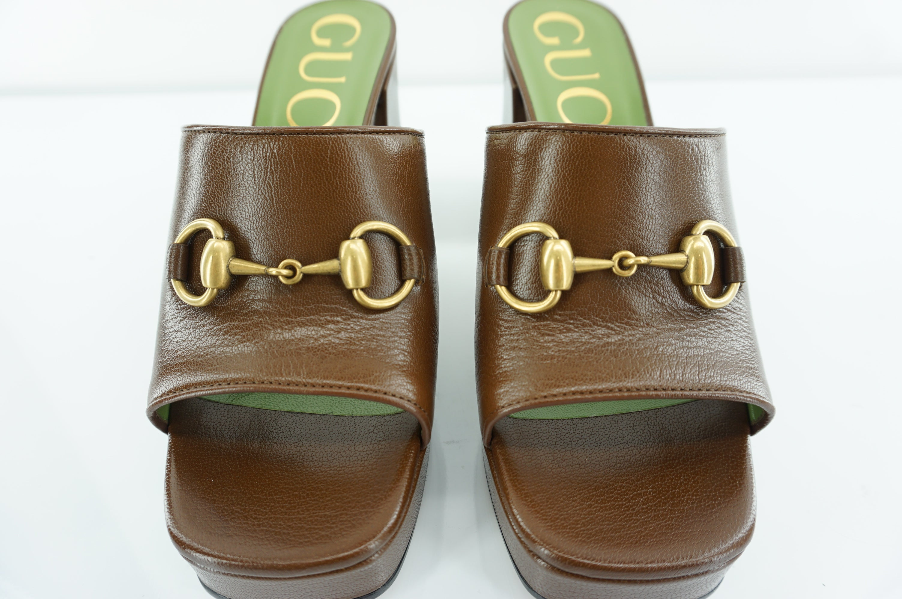 Gucci Houdan Brown Square Toe Slide Mule Platform Sandals SZ 36 Horse bit $840