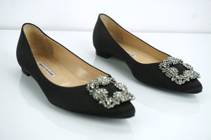 Manolo Blahnik Black Satin 'Hangisi' Jeweled Pointy Ballet Flats Size 38 $955