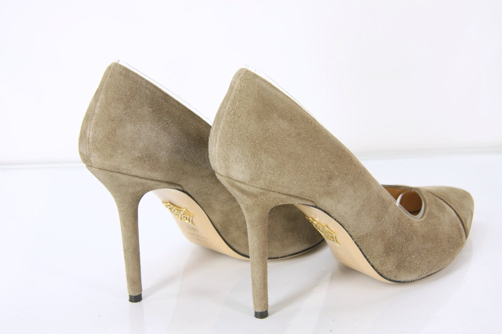 Charlotte Olympia Beige Suede Gold Trim Natalie Pointy pumps SZ 38.5 New $655