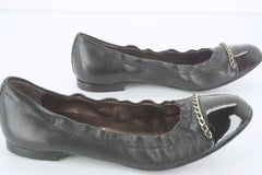 AGL Black Leather Bijoux Chain Embellished Patent Cap Toe Ballet Flat SZ 36 $320