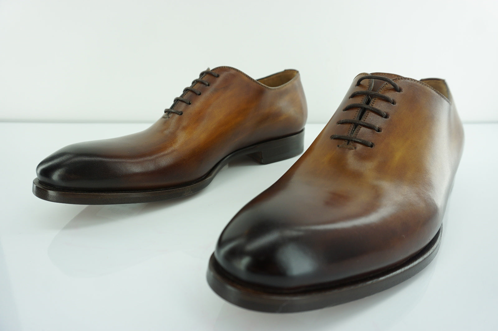 Magnanni Men's Leather Ryder Burnished Brown Lace Up Oxfords size 8 New $450