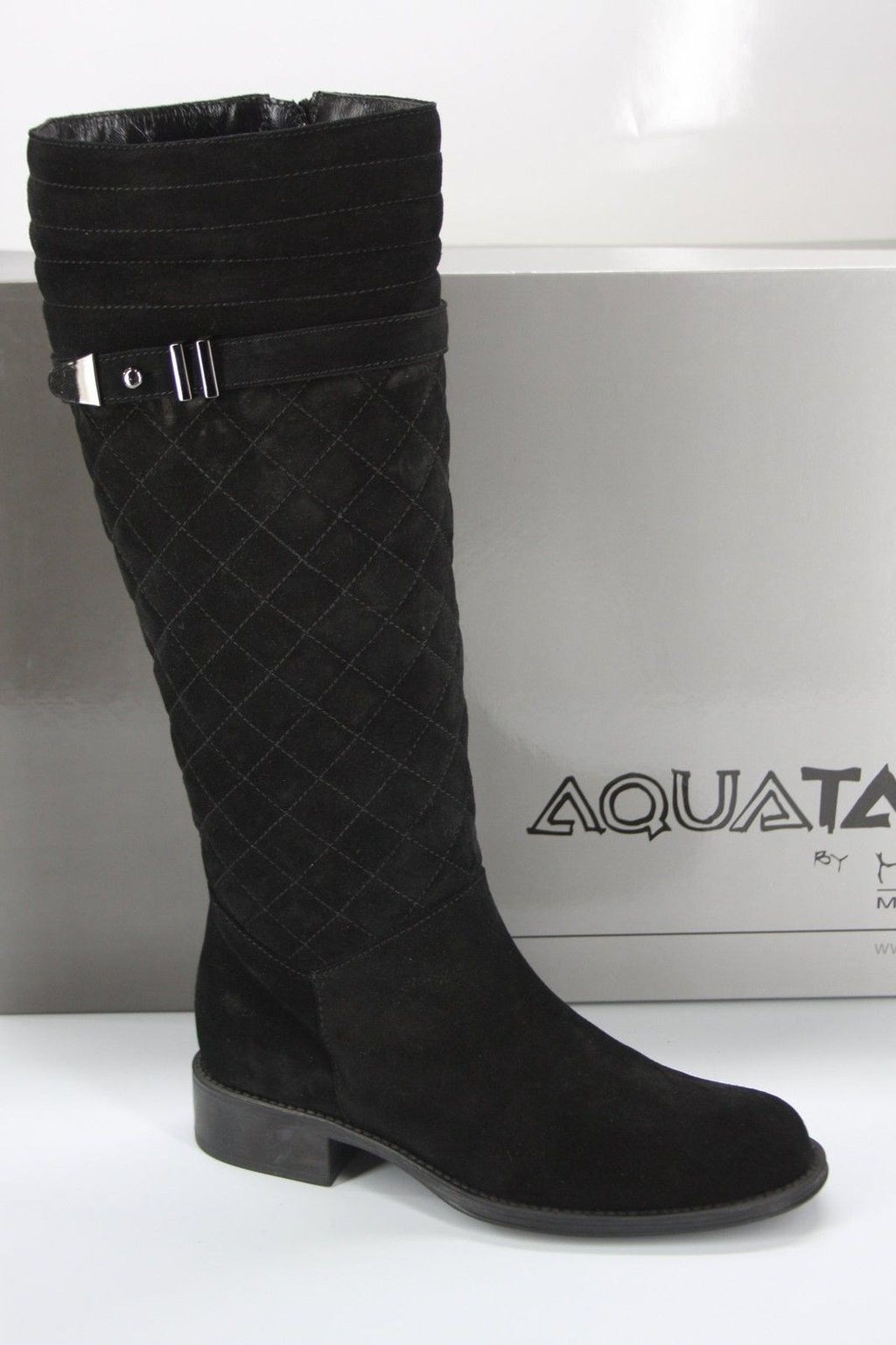 Aquatalia by Marvin K Black Suede Unveil Quilted Riding Boot Size 6.5 NIB Italy