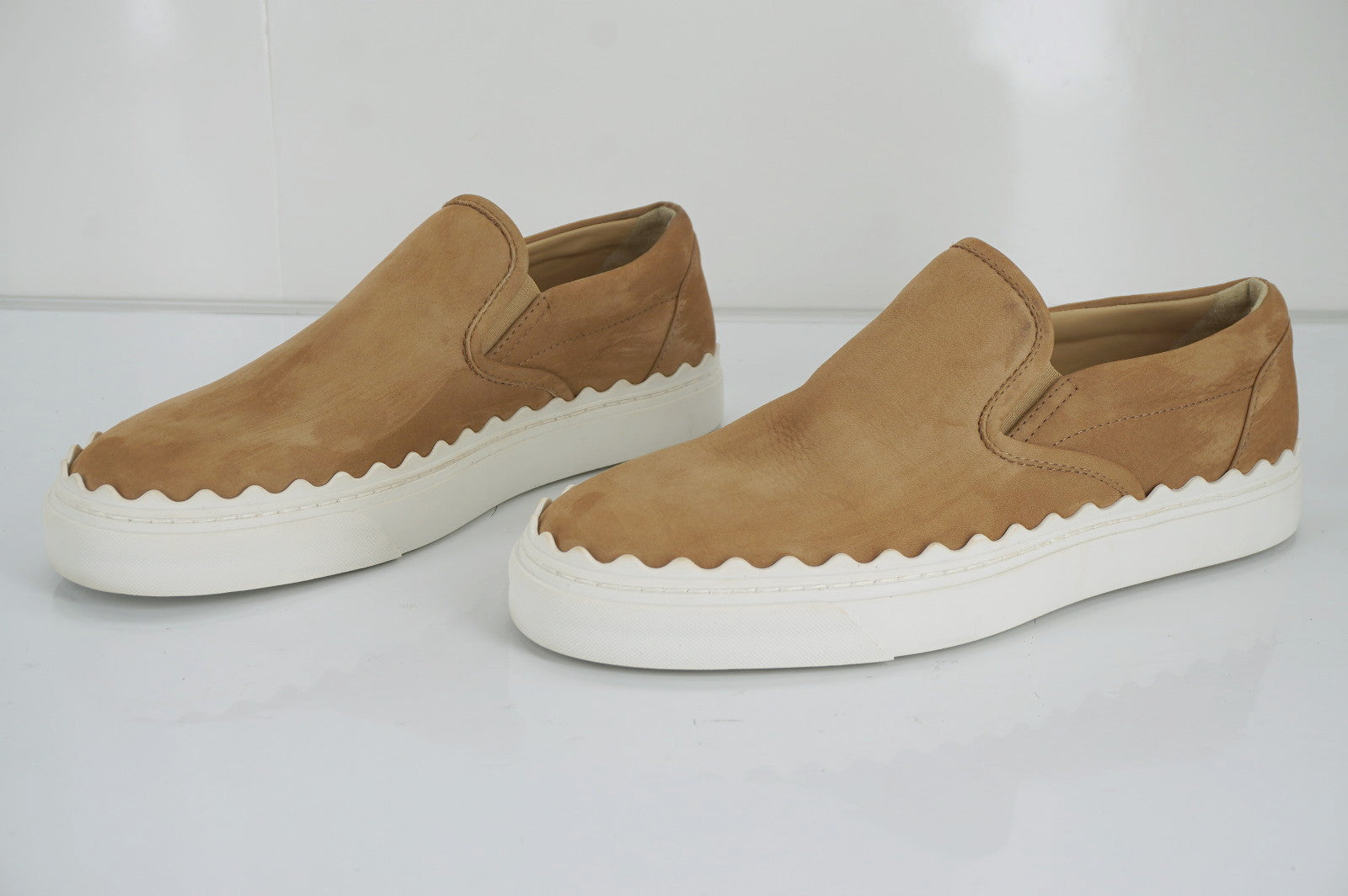 Chloe Brown Suede Leather Ivy Waves Scalloped Skate Sneakers SZ 40 10 New $520