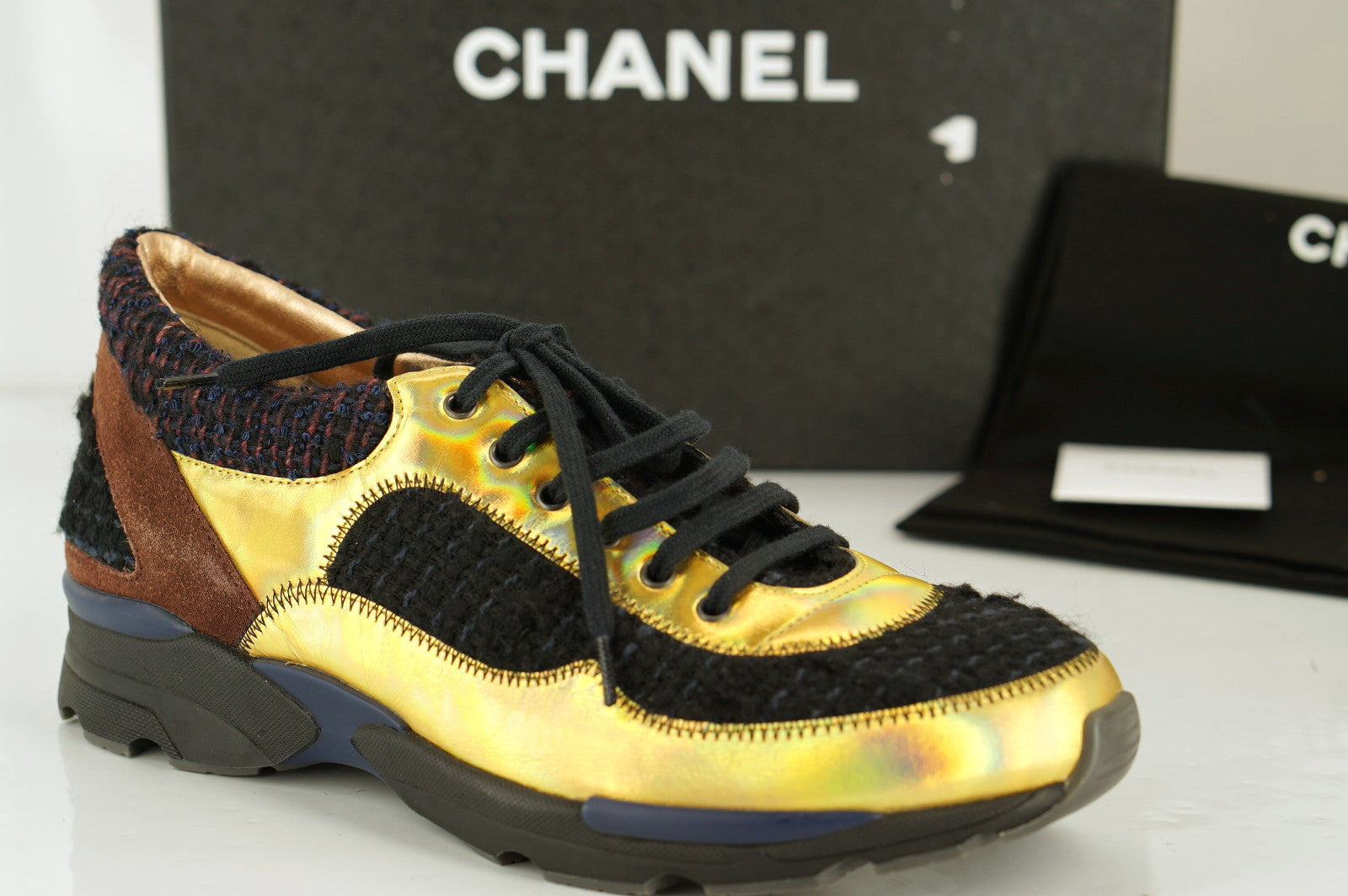Chanel Gold Leather Black Tweed Low Top
